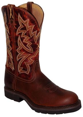 Twisted X Lite Pull-On Work Boots - Steel Toe, Brandy, hi-res