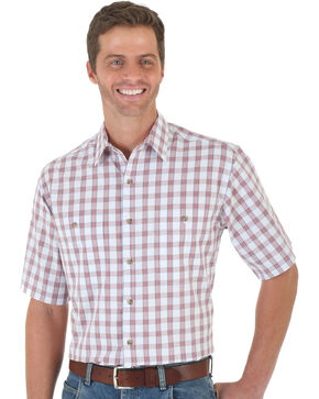 Wrangler Men's Red & White Plaid Rugged Wear Wicking Shirt - Big and Tall , Red, hi-res