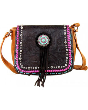 Montana West Concho Collection Crossbody Bag, Brown, hi-res