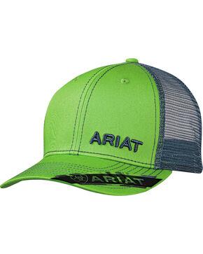 Ariat Men's Bright Green Offset Text Baseball Cap, Bright Green, hi-res