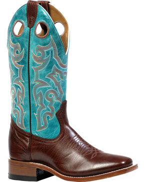 Boulet Shoulder Taurus Noce West Turqueza Cowgirl Boots - Square Toe, Dark Brown, hi-res