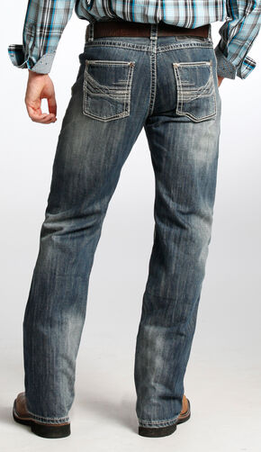 Tuf Cooper Men's Competition Fit Dark Vintage Wash Straight Jeans  , Indigo, hi-res