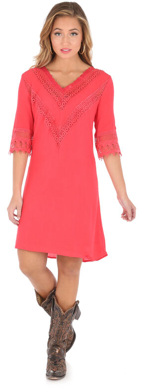 Wrangler Women's Red V-Neck Crochet Trim Dress , Red, hi-res