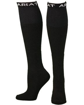 Ariat Men's Over the Calf Black Boot Socks - 2 Pack, Black, hi-res