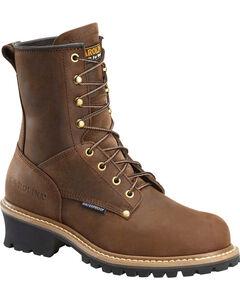 "Carolina Men's Brown 8"" Waterproof Logger Boots - Round Toe, , hi-res"