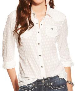Ariat Women's White Carol Snap Shirt, , hi-res