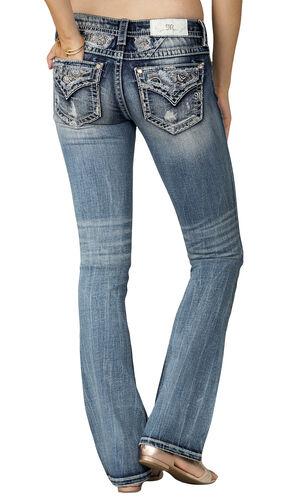 Miss Me Women's Indigo Midrise Paisley Pocket Jeans - Boot Cut, Indigo, hi-res