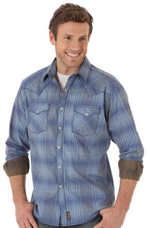 Wrangler Retro® Men's Blue Two Pocket Long Sleeve Shirt, Blue, hi-res