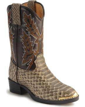 Durango Boys' Snake Print Boots - Round Toe, Natural, hi-res