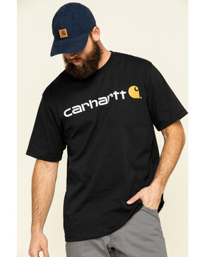 Carhartt Signature Logo Shirt Sleeve Shirt - Big & Tall, Black, hi-res