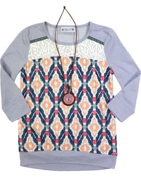 Shyanne Girls' Aztec 3/4 Sleeve Shirt with Necklace , Heather Grey, hi-res