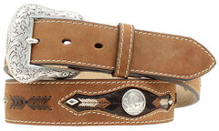 Nocona Buffalo Nickel Concho Leather Belt, , hi-res