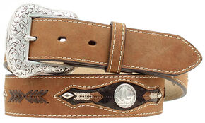 Nocona Buffalo Nickel Concho Leather Belt, Med Brown, hi-res