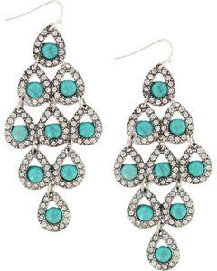 Shyanne Women's Rhinestone  & Turquoise Chandelier Earrings, , hi-res