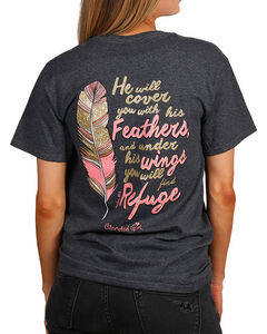 Cherished Girl Women's Feathers Graphic Tee, Dark Grey, hi-res