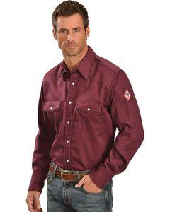 Wrangler Lightweight Flame Resistant Western Work Shirt, Burgundy, hi-res