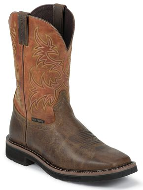 Justin Rugged Tan Stampede Pull-On Work Boots - Composite Toe, Tan, hi-res