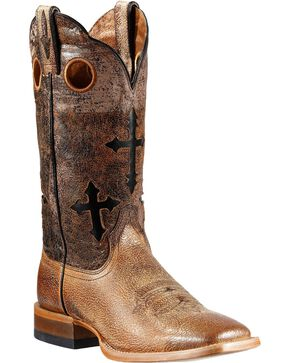 Ariat Ranchero Cross Inlay Cowboy Boots - Square Toe, Sand, hi-res