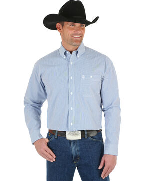 Wrangler George Strait Men's Blue & White Stripe Shirt, Blue, hi-res