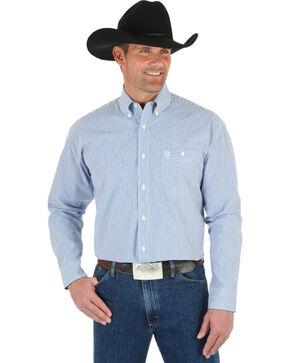 Wrangler George Strait Men's Blue & White Stripe Shirt, Blue, hi-res