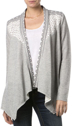Miss Me Women's Crochet Dolce Cardigan, Hthr Grey, hi-res