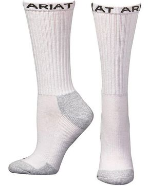 Ariat Men's Crew Socks - 6 Pack, White, hi-res