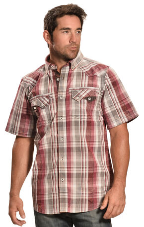 Petrol Men's Red Plaid Short Sleeve Shirt , Red, hi-res