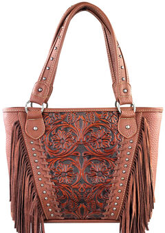Montana West Trinity Ranch Brown Tooled Design Concealed Handgun Collection Handbag with Fringe, , hi-res