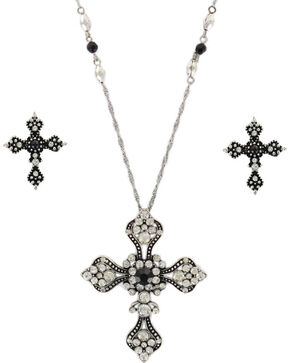 Shyanne Women's Vintage Cross Jewelry Set, Silver, hi-res