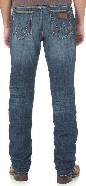 Wrangler Retro Men's Blue Slim Comfort Stretch Jeans - Straight Leg , Blue, hi-res