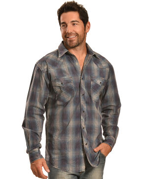 Crazy Cowboy Men's Vintage Blue Plaid Snap Shirt, Blue, hi-res