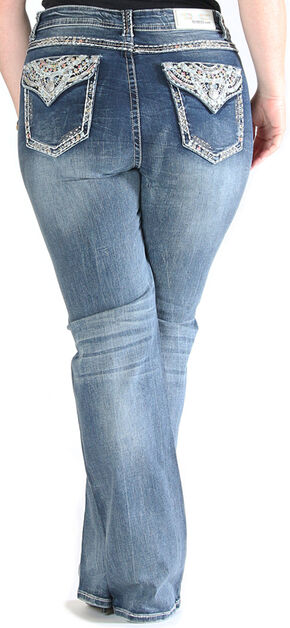Gracein LA Embroidered Flap Pocket Bootcut Jeans - Plus Size, Indigo, hi-res