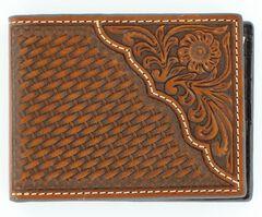 Nocona Basketweave w/ Tooled Overlay Bi-fold Wallet, , hi-res