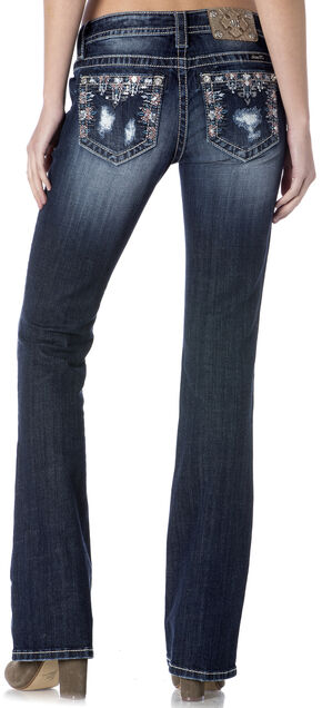 Miss Me Women's Rip/Repair Mid-Rise Bootcut Jeans - Extended Sizes, Indigo, hi-res