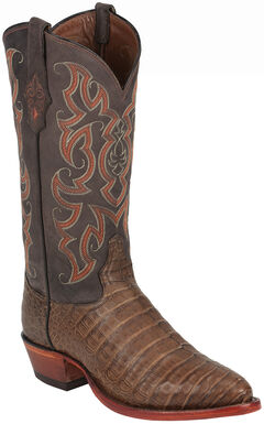 Tony Lama Chocolate Vintage Belly Exotics Caiman Western Boots - Round Toe  , , hi-res