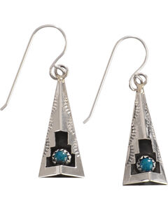M & S Turquoise Felix Perry Teepee Blessing Sterling Silver Earrings, , hi-res
