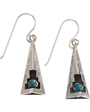 M & S Turquoise Felix Perry Teepee Blessing Sterling Silver Earrings, Silver, hi-res