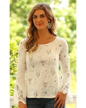Wrangler Women's Dreamcatcher Long Sleeve Top, Cream, hi-res