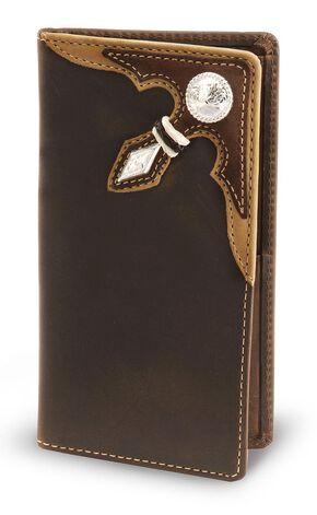 Stockyards Distressed Leather Rodeo Wallet, Dark Brown, hi-res