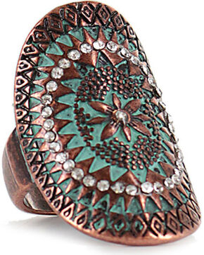 Shyanne® Women's Vintage Medallion Ring, Turquoise, hi-res