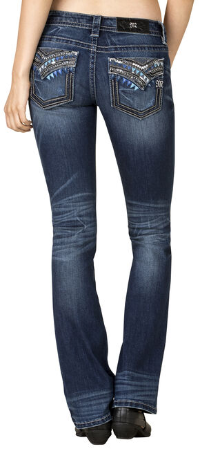Miss Me Women's Dark Wash Blue Chevron Bootcut Jeans - Extended Sizes, Blue, hi-res