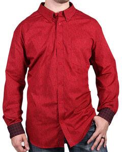 Cody James Core Men's Red Print Long Sleeve Shirt, , hi-res