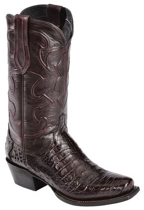 Lucchese Handcrafted 1883 Croc Belly Cowboy Boots - Snoot Toe, Black Cherry, hi-res