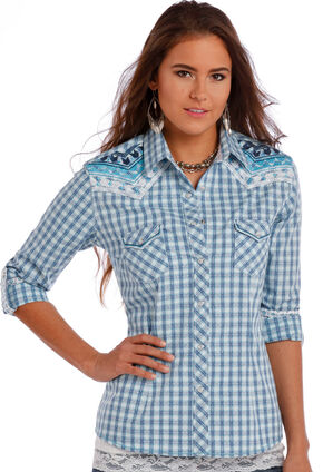 Panhandle Slim Women's Blue Rough Stock Whitney Vintage Dobby Ombre Plaid Shirt, Blue, hi-res
