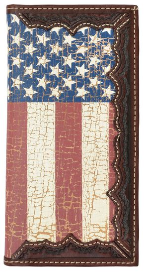 3D Brown Leather American Flag Rodeo Wallet, Multi, hi-res