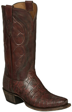 Lucchese Brick Giant Gator Van Cowboy Boots - Square Toe, , hi-res