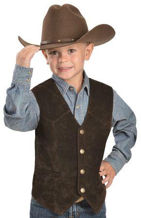 Red Ranch Boys' Suede Vest, Brown, hi-res