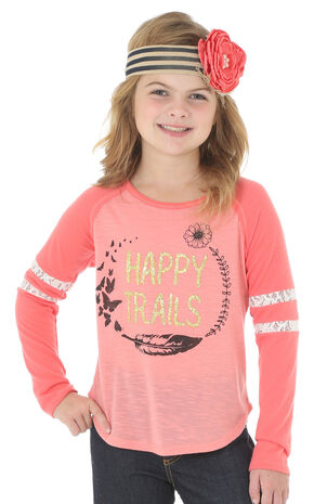 Wrangler Girls' Long Sleeve Happy Trails Tee, Red, hi-res