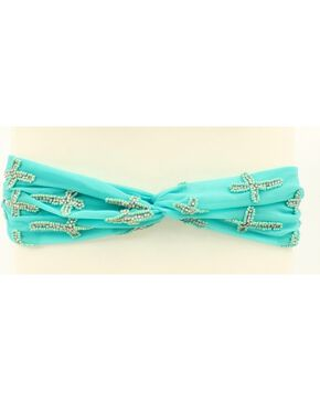Blazin Roxx Faux Turquoise Beaded Cross Headband, Turquoise, hi-res