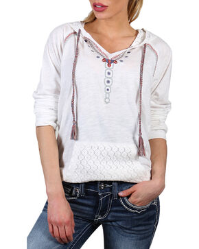 Shyanne Women's Lace Hood Long Sleeve Shirt, Natural, hi-res